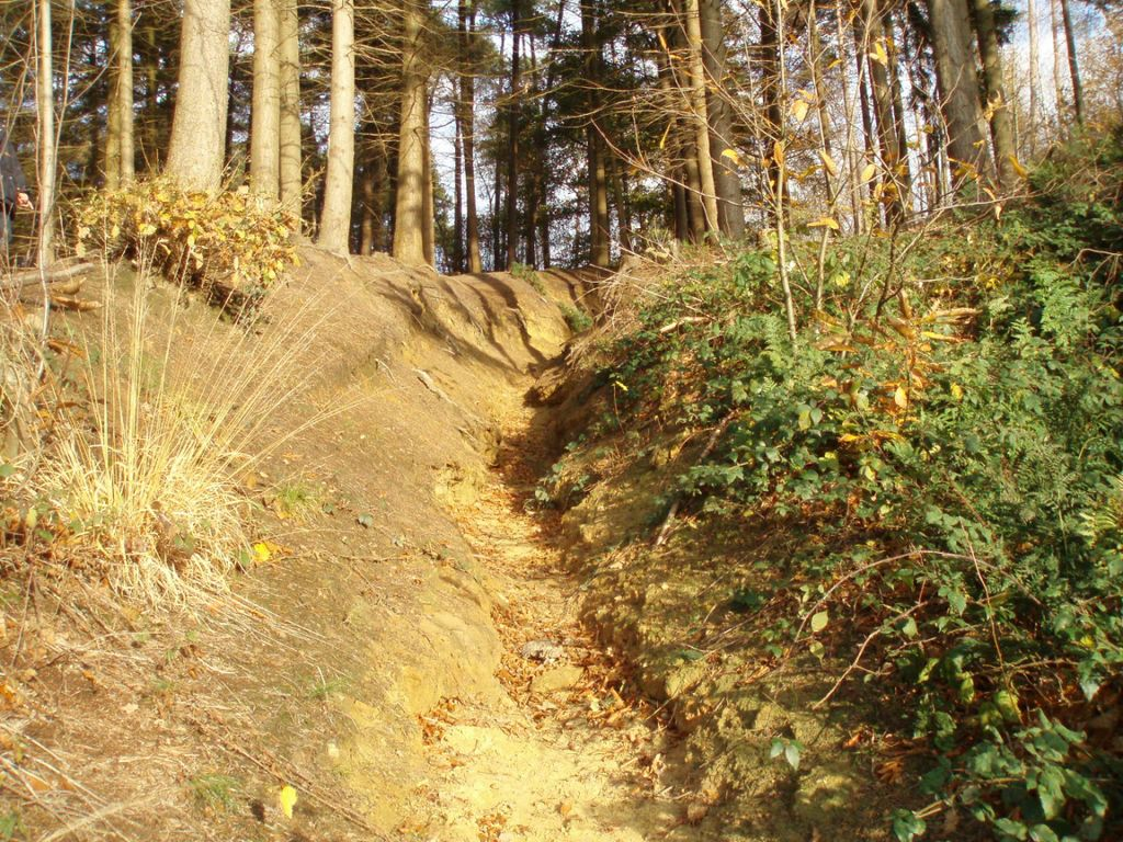 Le sentier n° 86 (Baisy-Thy) raviné.