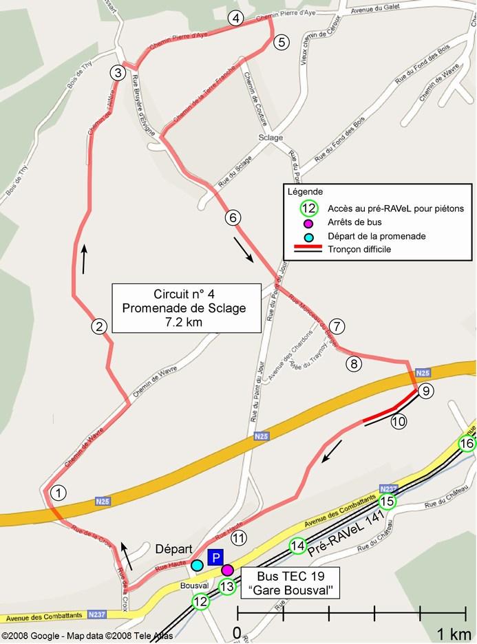 Carte du circuit 4 - Promenade de Sclage (Bousval)