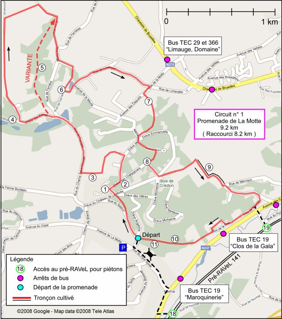 Carte du circuit 1 - Promenade de la Motte (Bousval)