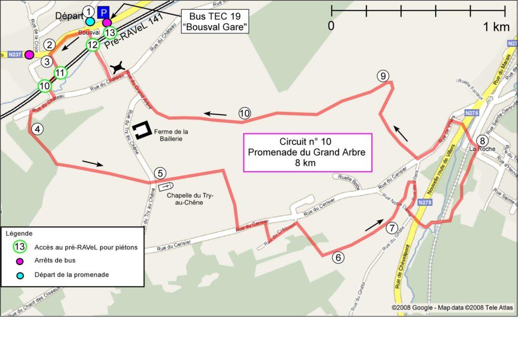 Carte avec le tracé de la promenade et l'emplacement des points de repères