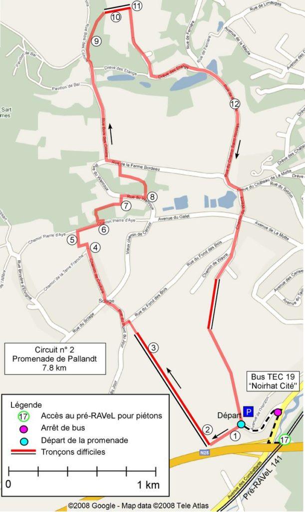 Carte du circuit 2 - Promenade de Pallandt (Bousval)
