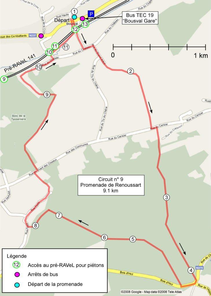 Carte reprenant le tracé de la promenade de Renoussart ainsi que l'emplacement des points de repères