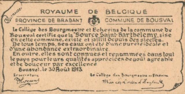 Sources de Bousval : certificat de la commune attestant l'existence et la pureté de la source St Barthélemy daté du 30 août 1913