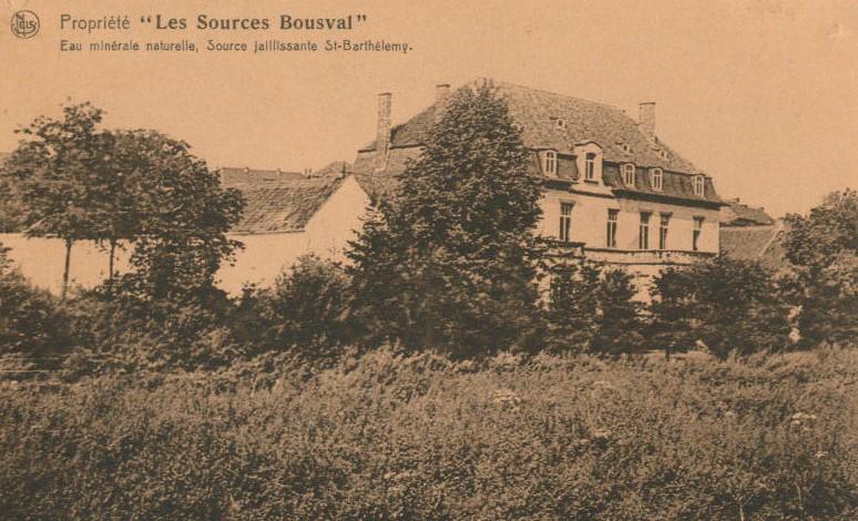 Propriété des Sources de Bousval : façade avant de la bâtisse (vers 1930)