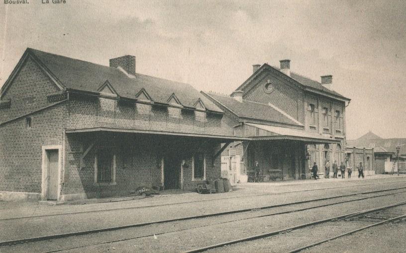 Carte postale du quai de l'ancienne gare de Bousval (1908)